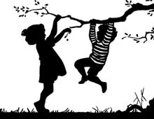 Silhouette of a Boy and Girl Playing in a Tree