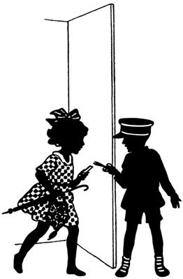 Silhouette of Two Children Talking