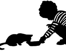 Silhouette of a Child Feeding a Cat
