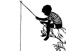 Silhouette of Boy Fishing from a Tree