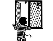 Silhouette of a Boy Opening a Window