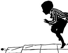 Silhouette of a Boy Playing Hopscotch