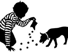 Silhouette of Child Playing with Marbles and a Dog