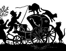 Silhouette of Cats Taking Over a Carriage