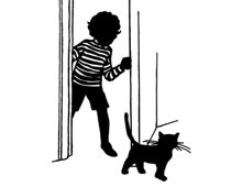 Silhouette of a Cat and a Child Walking Through a Doorway