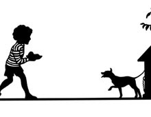 Silhouette of a Child Feeding a Dog