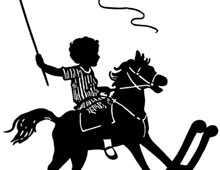 Silhouette of a Child Riding a Rocking Horse