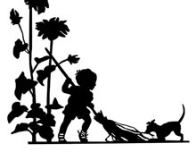Silhouette of a Child Sweeping