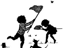 Silhouette of Children Chasing Butterflies