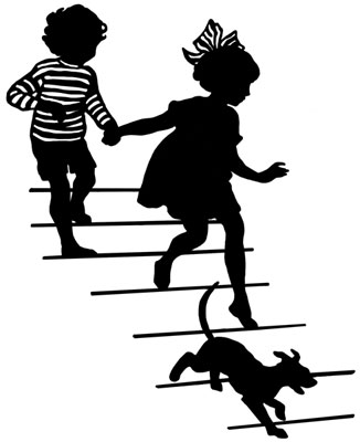 Silhouette of a Boy and Girl Running Down Stairs