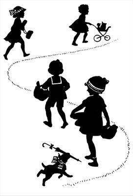 Silhouette of Children and Dog Walking Together