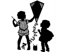 Silhouette of Children Decorating a Kite
