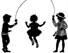 Silhouette of Children Jumping Rope