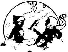 Silhouette of Children Playing in the Snow