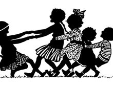 Silhouette of Children Playing Tug of War