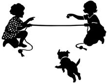 Silhouette of Girls Playing with a Dog