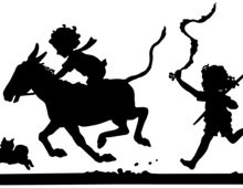 Silhouette of Children Running with a Donkey