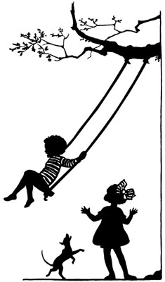 Silhouette of a Child on a Swing