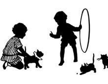 Silhouette of Children Training Cats