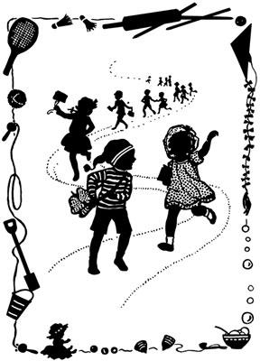 Silhouette of Children Walking