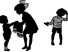 Silhouette of Children Washing
