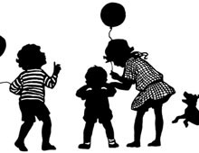 Silhouette of Children with Balloons