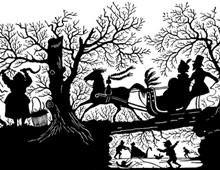 Silhouette of a Couple Riding on a Sleigh