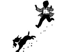Silhouette of Child Running after a Dog