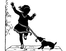 Silhouette of a Dog Tugging on a Girl's Belt