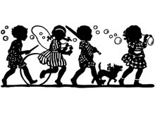 Silhouette of Children Marching