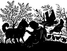 Silhouette of a Girl Sitting with a Dog