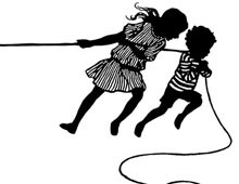 Silhouette of Girl and Boy Playing Tug of War