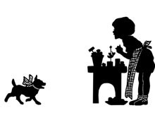 Silhouette of a Girl and a Dog Playing House