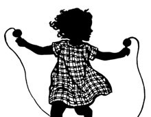 Silhouette of a Girl Jumping Rope