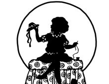 Silhouette of Girl Making a Hat for her Doll