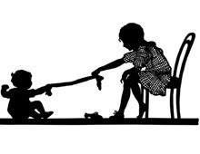 Silhouette of a Baby Playing with a Girl