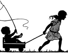 Silhouette of a Girl Pulling a Baby in a Wagon