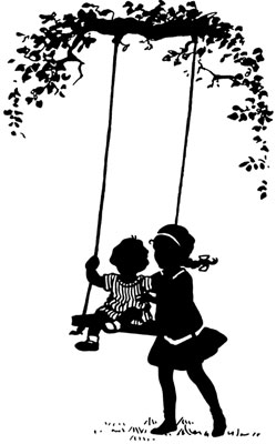 Silhouette of a Little Girl on a Swing