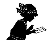 Silhouette of a Girl Standing and Reading a List