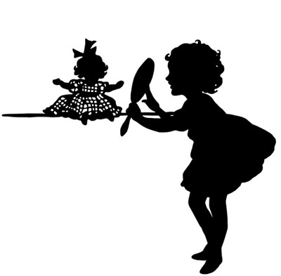 Silhouette of Girl and her Doll