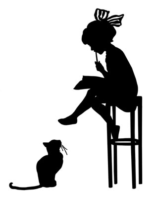 silhouette of girl sitting on a stool