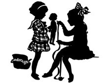 Silhouette of Girls Playing with a Doll