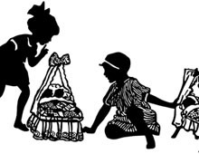 Silhouette of Girls Playing with Dolls