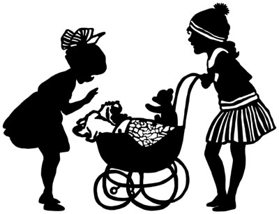 Silhouette of Girls Pushing Doll Carriage