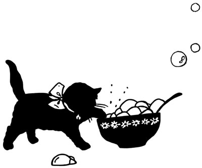 Silhouette of a Kitten Playing with a Bowl of Bubbles