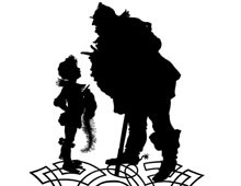 Silhouette of Large Man Talking to a Young Boy