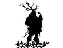 Silhouette of Fat Man with Antlers on his Head