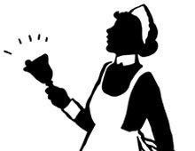 Silhouette of a Maid Ringing a Bell