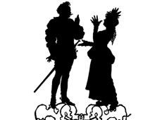 Silhouette of a Man and Woman Talking