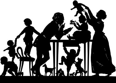 Silhouette of a Man and Woman with Children